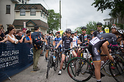 The riders line up at the start line before the Philadelphia International Cycling Classic, a 117.8 km road race in Philadelphia on June 5, 2016 in Philadelphia, PA.