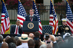 September 11, 2016 - Arlington, United States of America - U.S Defense Secretary Ashton Carter speaks as President Barack Obama and Joint Chiefs Gen. Joseph Dunford look on during a ceremony commemorating the 15th anniversary of the 9/11 terrorist attacks at the Pentagon September 11, 2016 in Arlington, Virginia. (Credit Image: © Ej Hersom/Planet Pix via ZUMA Wire)