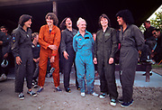 "The first female NASA astronauts take a break after they qualify in US Air Force Water Survival School at Turkey Point, Florida. Left to right are: Sally K. Ride, Shannon W. Lucid, Kathryn D. Sullivan, Margaret ""Rhea"" Seddon, Anna L. Fisher, Judith A. Resnik"