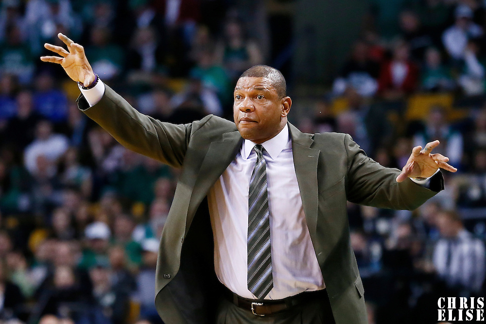 17 November 2012: Boston Celtics head coach Doc Rivers is seen during the Boston Celtics 107-89 victory over the Toronto Raptors at the TD Garden, Boston, Massachusetts, USA.