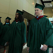 Wilmington University James Pernol, RIGHT, participate in a Academic Procession prior to commencement exercise Sunday, May 17, 2015, at Chase Center On The Riverfront in Wilmington Delaware.
