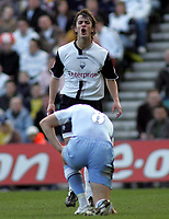 Photo: Paul Thomas.<br /> Preston North End v Manchester City. The FA Cup. 18/02/2007.<br /> <br /> Danny Pugh has words with Joey Barton (8) of Man City.
