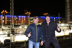 Fabian Dahlem and Bojan Zajc at construction of ice rink on Repulic Square for Winter Classic of HDD Telemach Olimpija called Pivovarna Union Ice Fest 2014, on December 13, 2014 on Republic Square, Ljubljana, Slovenia. (Photo By Matic Klansek Velej / Sportida.com)