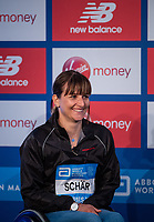 Manuela Schar at a press conference at the Guoman Tower Hotel for the winners of The Abbott World Marathon Majors Series XI, 23 April 2018.<br /> <br /> Photo: Thomas Lovelock for Virgin Money London Marathon<br /> <br /> For further information: media@londonmarathonevents.co.uk
