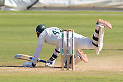 WICKET - Hassan Azad is knocked over by Michael Hogan during the Specsavers County Champ Div 2 match between Glamorgan County Cricket Club and Leicestershire County Cricket Club at the SWALEC Stadium, Cardiff, United Kingdom on 19 September 2019.