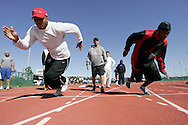 FEB 6 2007: Football players train for the NFL combine with Coach Tom Shaw at his facilities in Disney's Wide World of Sports in Orlando Florida. Photo by Tom Hauck.