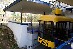 A cable car sits at it's station in Sigulda, Latvia - the cable car line transports people across the Guaja River Valley.