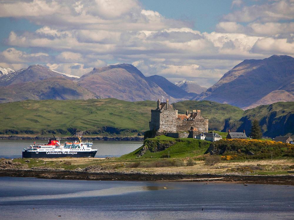 The MV Isle of Mull passes Duart Castle, Isle of Mull, Argyll