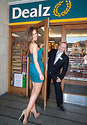 Repro Free: .Top model Rozanna Purcell is pictured at the opening of the new Dealz store in Dundrum making this the nineteenth Dealz store to open to date, pictured with Johnny Brennan, Store Manager. Pic Andres Poveda..Dealz Dundrum, situated at Unit G12, Dundrum Village Centre, Dundrum, Dublin 16, is creating 30 jobs in the Dundrum area, bringing the total number of jobs created in Ireland to over 540. ..The new store has over 5,941 sq ft of retail space and offers customers a wide range of branded products from health and beauty, food and drink to clothing accessories. Dealz is proudly supporting Irish suppliers and are stocking a range of products produced in Ireland, such as milk, eggs, crisps and cakes...Commenting at the new store opening, Dealz Senior Business Manager Leonard Brassel said:  ?We are very excited to be expanding the Dealz portfolio in Ireland with the opening of our new store in Dundrum today. The new store in Dundrum is the nineteenth Dealz store to open in Ireland and has created 30 new jobs for the Dublin area. Dealz is committed to bringing amazing value every day to customers and we are looking forward to expanding further across the Republic of Ireland. Dealz Dundrum will offer customers everything they need including great seasonal ranges for Back to School and Halloween.?..ENDS..For further information, please contact:.Suzanne Cairns and Ciara O' Connell, WHPR, 01 6690030.086 8945635 (SC) and 087 6260244 (CO'C).suzanne.cairns@ogilvy.com / ciara.o'connell@ogilvy.com.