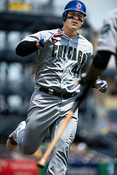 May 28, 2018 - Pittsburgh, PA, U.S. - PITTSBURGH, PA - MAY 28:   Chicago Cubs first baseman Anthony Rizzo (44) gets a high five after hitting a home run in the second inning during an MLB game between the Pittsburgh Pirates and Chicago Cubs on May 28, 2018 at PNC Park in Pittsburgh, PA. (Photo by Shelley Lipton/Icon Sportswire) (Credit Image: © Shelley Lipton/Icon SMI via ZUMA Press)