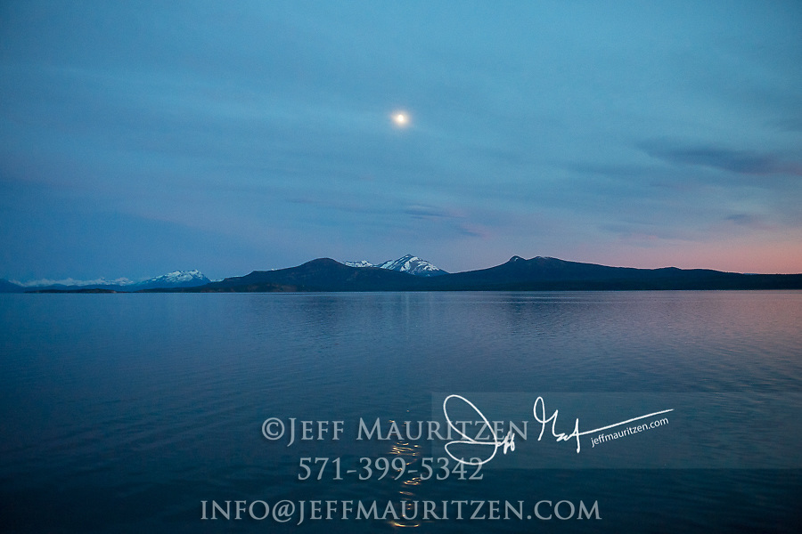 Full moon over mountains near Puerto Natales, Chile.