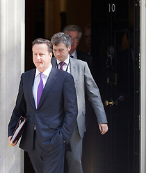 © Licensed to London News Pictures. 13/06/2012. LONDON, UK. British Prime Minister David Cameron leaves 10 Downing Street for Parliament and Prime Ministers Questions. Photo credit: Matt Cetti-Roberts/LNP