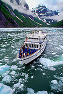 small tour boat at Le Conte Glacier