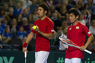 Yoshihito NISHIOKA and Yasutaka UCHIYAMA pictured in action during the round three singles match on second day of the Davis Cup by BNP Paribas match between Great Britain and Japan at the National Indoor Arena, Birmingham, England.<br /> Picture by Anthony Stanley/Focus Images Ltd 07833 396363<br /> 05/03/2016