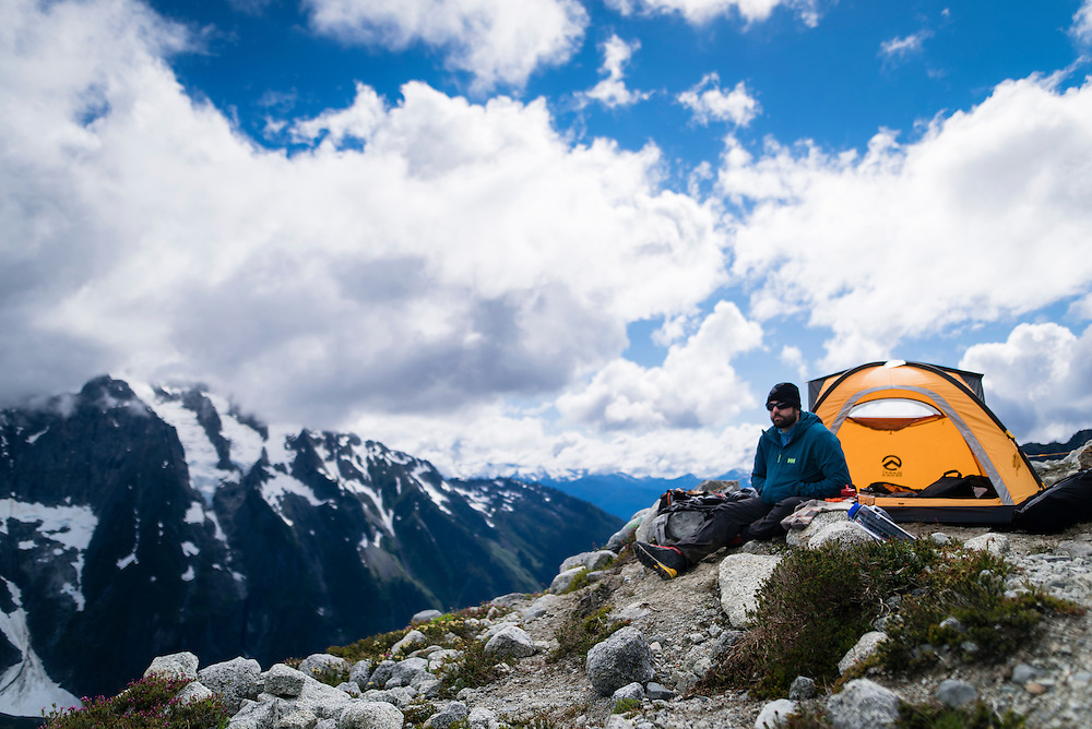 Relaxing on a down day at base camp in the Boston Basin