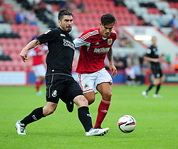 Bristol City's Marlon Pack closes down Bournemouth's Richard Hughes - Photo mandatory by-line: Dougie Allward/JMP - Tel: Mobile: 07966 386802 27/03/2013 - SPORT - FOOTBALL - Goldsands Stadium - Bournemouth -  Bournemouth V Bristol City - Pre Season friendly