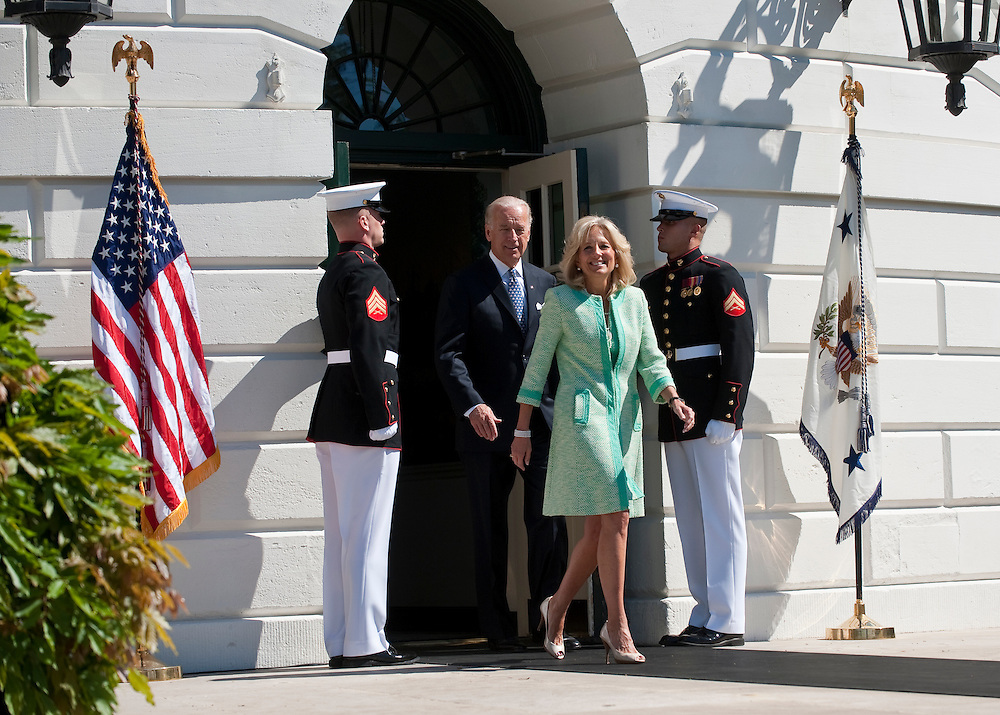 Apr 28,2010 - Washington, District of Columbia USA - .Vice President and Dr. Biden exit the White House at the start of the Wounded Warrior Soldier Ride on the South Lawn of the White House on Wednesday. Secretary of Defense Robert Gates and Secretary of Veterans Affairs Eric Shinseki also attended .Soldier Ride is a program of the Wounded Warrior Project that provides rehabilitation opportunities for wounded warriors and raises public awareness of the challenges facing veterans as they recover from life-altering injuries. Riders will proceed from the White House to continue the four-day cycling event, traveling through Washington, DC; Baltimore, Maryland; Andrews Air Force Base; and Annapolis, Maryland. (Credit Image: © Pete Marovich Images)