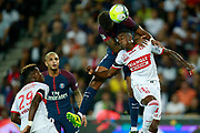 Paris Saint-Germain's French defender Presnel Kimpembe heads the ball during the French championship L1 football match between Paris Saint-Germain (PSG) and Toulouse, on August 20, 2017, at the Parc des Princes, in Paris, France - Photo Benjamin Cremel / ProSportsImages / DPPI