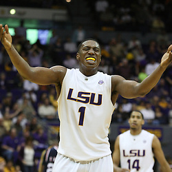14 February 2009: LSU forward Tasmin Mitchell (1) celebrates near the end of a 73-66 win by the LSU Tigers against SEC rival the Ole Miss Rebels at the Pete Maravich Assembly Center in Baton Rouge, LA.