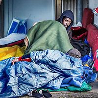 Nederland, Amsterdam, 19 april 2016.<br /> Een aantal vluchtelingen, veelal van Syrische afkomst, die tijdelijk verblijven in de Havenstraat zijn in hongerstaking gegaan.<br /> <br /> A number of refugees, mostly of Syrian origin who reside temporarily in the Havenstraat have gone on hunger strike.<br /> <br /> <br /> Foto: Jean-Pierre Jans