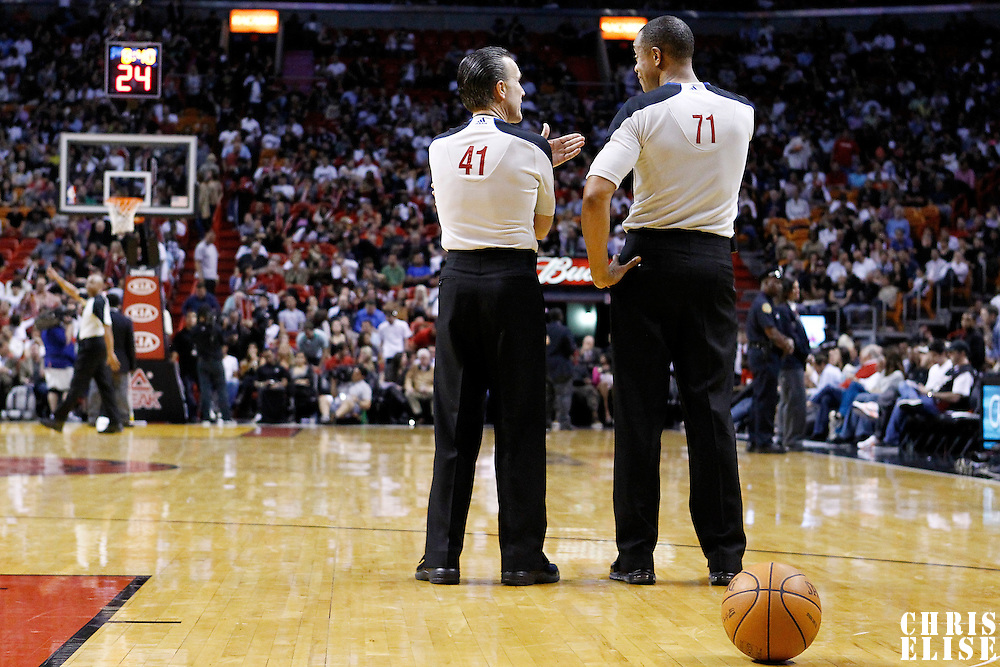 17 January 2012: NBA referees are seen during the Miami Heat 120-98 victory over the San Antonio Spurs at the AmericanAirlines Arena, Miami, Florida, USA.