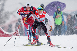 Petter Jr. Northug and Johannes Duerr of Austria during Mans 9km Classic (Final climb) mass start of the Tour de Ski 2014 of the FIS cross country World cup on January 5th, 2014 in Cross Country Centre Lago di Tesero, Val di Fiemme, Italy. (Photo by Urban Urbanc / Sportida)