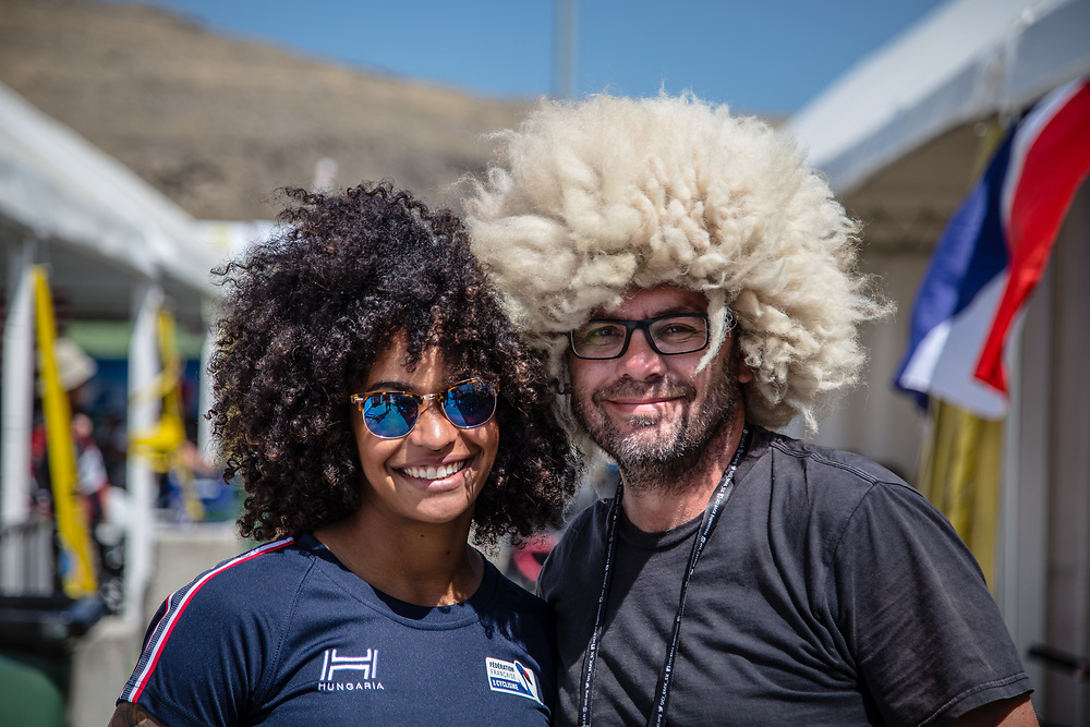 Women Elite #971 (VALENTINO Manon) FRA and Craig Dutton at the 2018 UCI BMX World Championships in Baku, Azerbaijan.