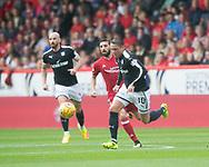 August 19th 2017, Pittodrie Stadium, Aberdeen, Scotland;  Scottish Premiership football, Aberdeen versus Dundee; Dundee's Scott Allan goes past Aberdeen's Graeme Shinnie