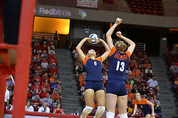16 SEP 2008: Hillary Haen sets the ball for Johannah Bangert during a match at Redbird Arena on the campus of Illinois State University in Normal Illinois.  The Illinois State Redbirds went toe to toe with the University of Illinois Illini but in the end were outpaced by the 23rd ranked Division 1 Illini team 3 sets to 1.