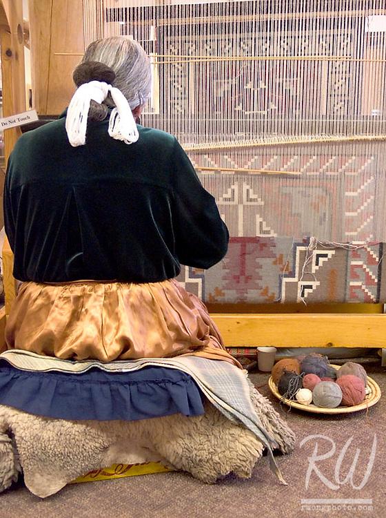 Mary Begay Weaves Traditional Navajo Rug, Hubbell Trading Post National Historical Site, Ganado, Arizona