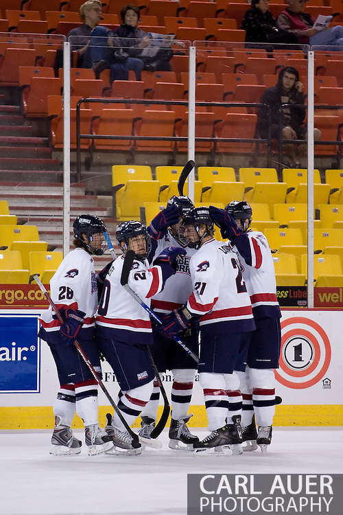 October 13, 2007 - Anchorage, Alaska: The Robert Morris Colonials celebrate a goal in the 4-1 victory over the Wayne State Warriors at the Nye Frontier Classic at the Sullivan Arena.