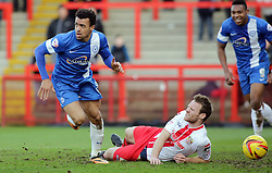 Peterborough United's Nicky Ajose celebrates scoring the only goal of the game - Photo mandatory by-line: Joe Dent/JMP - Tel: Mobile: 07966 386802 22/02/2014 - SPORT - FOOTBALL - Stevenage - Broadhall Way - Stevenage v Peterborough United - Sky Bet League One