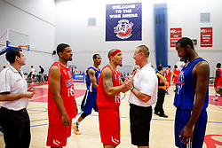 Greg Streete of Bristol Flyers talks to the opposition coach after USA Select claim a narrow overtime victory - Mandatory byline: Rogan Thomson/JMP - 07966 386802 - 10/09/2015 - BASKETBALL - SGS Wise Arena - Bristol, England - Bristol Flyers v USA Select.