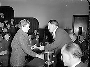 Domestic Science College, Distribution of Prizes, Cathal Brugha Street..1960..03.02.1960..02.03.1960...Images taken at the awards ceremony of the Domestic Science College, in Cathal Brugha Street. We do not have the caption sheet with the names if you know the people involved  why not let us know at irishphotoarchive@gmail.com and we will gladly add them.
