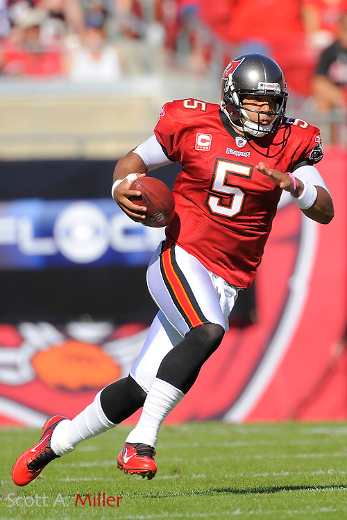 Tampa Bay Buccaneers quarterback Josh Freeman (5) in action during the Bucs game against the Houston Texans at Raymond James Stadium on Nov. 13, 2011 in Tampa, Fla.  ..©2011 Scott A. Miller