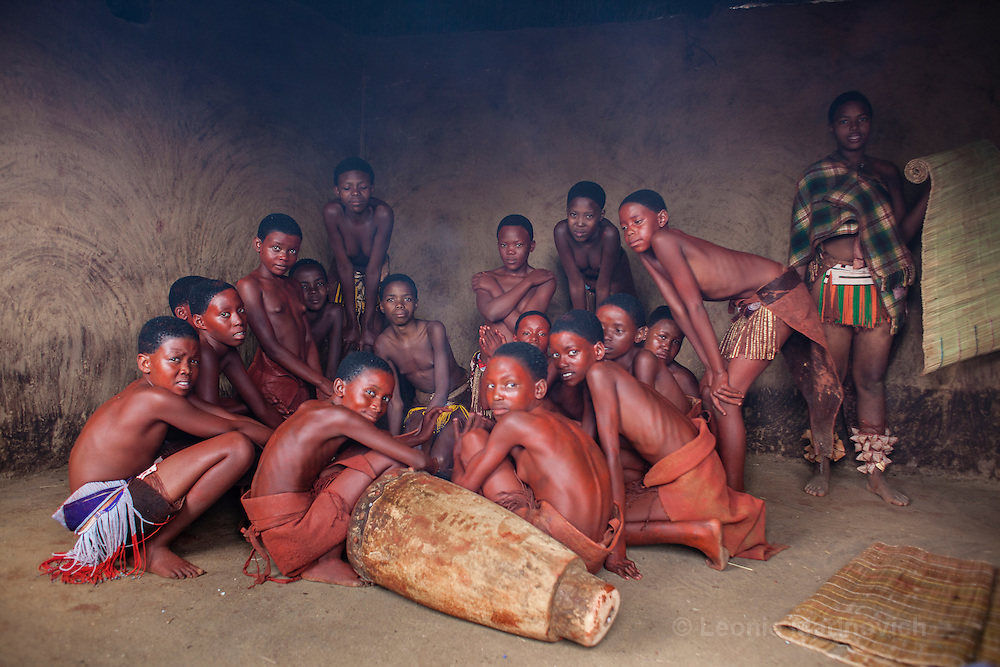 24 July 2004. Pedi initiation, Leeuwkraal, near Jane Furse, Limpopo, South Africa. Girls spend the full 3 weeks of the school winter holidays at this initiation school.