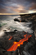 Lava exits a tube and flows into the sea, creating another new black sand beach and delta of land, forever altering the Big Island's coastline. This truly remarkable and dynamic scene is mesmerizing to witness, let alone shoot. Shoes: $175. Tripod: $950. Getting the shot: Priceless.