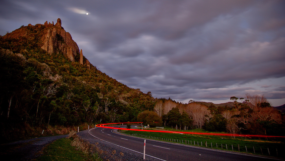 Mount Manaia, moonrise, car lights - headin home