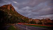 Mount Manaia, moonrise, car lights - headin home