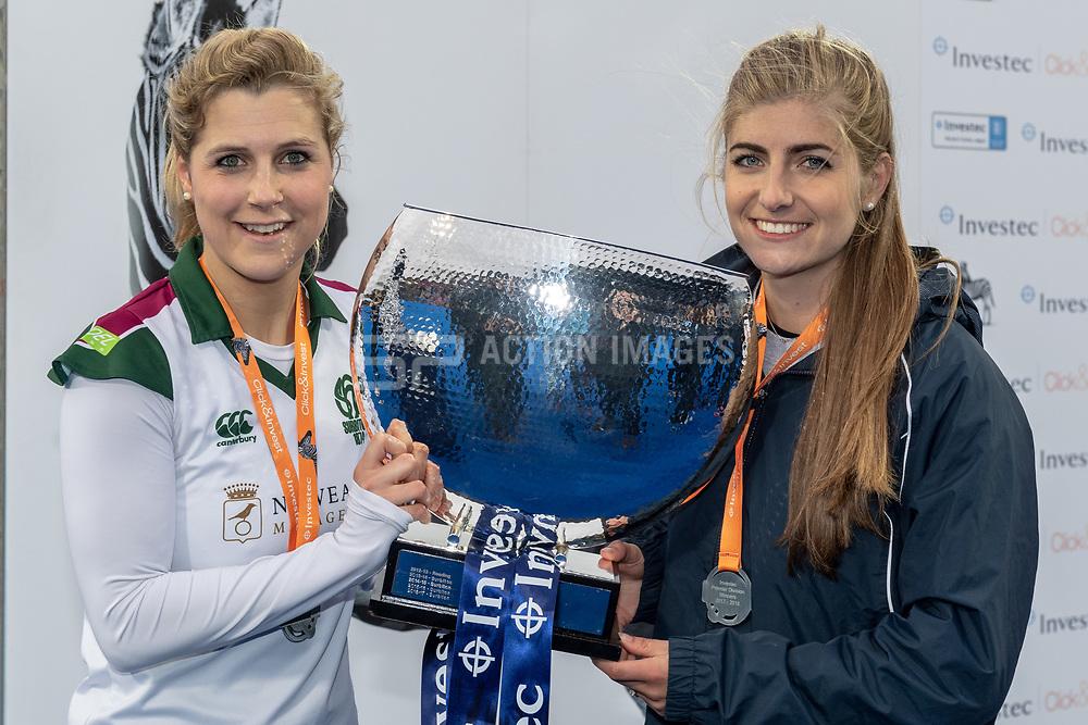 Surbiton's Georgie Twigg & Sarah Haycroft. Holcombe v Surbiton - Investec Women's Hockey League Final, Lee Valley Hockey & Tennis Centre, London, UK on 29 April 2018. Photo: Simon Parker