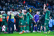Sheffield Wednesday players, including Sheffield Wednesday midfielder Jacob Murphy (14), celebrate their 0-2 win at Leeds United during the EFL Sky Bet Championship match between Leeds United and Sheffield Wednesday at Elland Road, Leeds, England on 11 January 2020.
