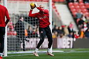 Middlesbrough goalkeeper Darren Randolph (23) warming up during the EFL Sky Bet Championship match between Middlesbrough and Ipswich Town at the Riverside Stadium, Middlesbrough, England on 29 December 2018.