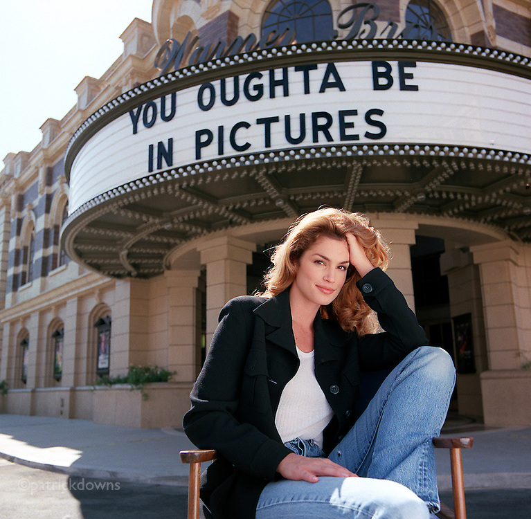"Supermodel Cindy Crawford, photographed on the backlot at Warner Bros in Burbank. She ""oughta be in pictures"" and in fact she isÑ she has made her movie debut, an action film, co-starring William Baldwin."