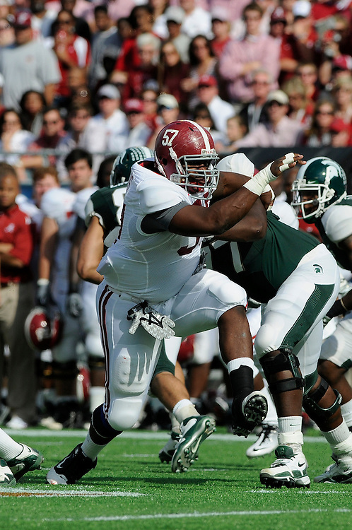January 1, 2011: Marcell Dareus of the Alabama Crimson Tide in action during the NCAA football game between Michigan State Spartans and the Alabama Crimson Tide at the 2011 Capital One Bowl in Orlando, Florida. Alabama defeated Michigan State 49-7.