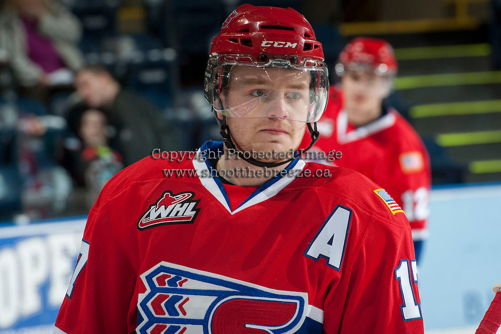 KELOWNA, CANADA - MARCH 5: Mitch Holmberg #17 of the Spokane Chiefs stands on the ice against the Kelowna Rockets on March 5, 2014 at Prospera Place in Kelowna, British Columbia, Canada.   (Photo by Marissa Baecker/Getty Images)  *** Local Caption *** Mitch Holmberg;
