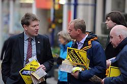 Willie Rennie, Dunfermline, 29-4-2016<br /> <br /> Tim Farron and James Calder meet voters in Dunfermline<br /> <br /> (c) David Wardle | Edinburgh Elite media
