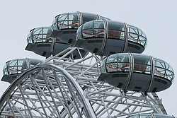 © Licensed to London News Pictures. 07/01/2019. London, UK. Empty capsules on London Eye as it is closed for it's annual maintenance refurbishment. The popular tourist attraction is 135m/443ft high and there are 32 capsules attached to the wheel will re-open on 23rd January 2019. The London Eye is Europe's tallest cantilevered observation wheel and over 3.75 million visitors visits the London Eye annually. Photo credit: Dinendra Haria/LNP
