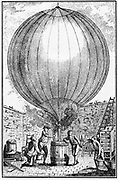 Robert brothers helping JAC Charles (1746-1823) to inflate balloon with hydrogen produced by covering barrel of iron filings with sulphuric acid. On 1 December 1783 Charles and one of brothers made first ascent in hydrogen balloon. After a contemporary engraving.