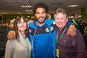 Player sponsors Forest Green Rovers Reuben Reid(26) during the EFL Sky Bet League 2 match between Forest Green Rovers and Crawley Town at the New Lawn, Forest Green, United Kingdom on 24 February 2018. Picture by Shane Healey.