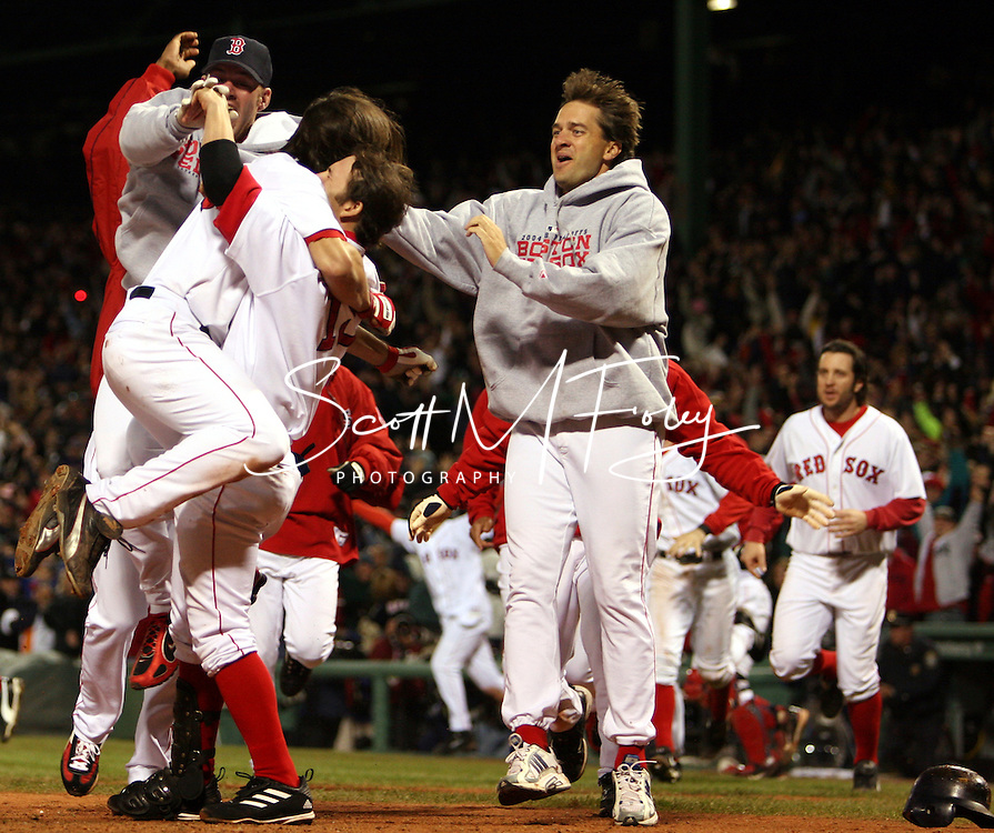 Johnny Damon scores off of David Ortiz's homerun, to win the game for the Red Sox and send the series back to New York, 2004 Boston Red Sox, make a run at history getting through a tough fight with the New York Yankees and then eventually sweeping the St. Louis Cardinals for the World Series title.